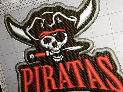 Piratas design logo embroidery digitizer