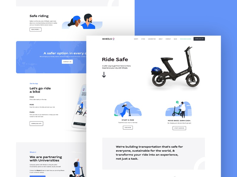 Wheels | Website helmet scooters micromobility bikes people illustration ui websites