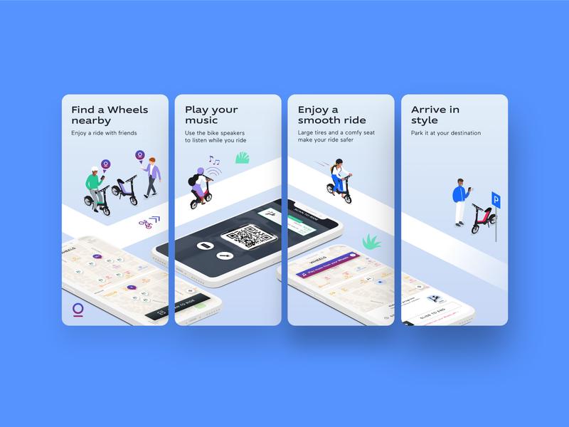 Wheels | App Store Images music people illustration people bike scooter wheel mobile ui app store app