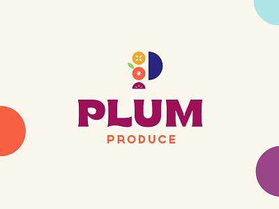 PlumProduce   Reject typography fruit illustration fruits plum bold chunky brand identity branding logo fruit logo fruit