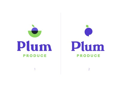 PlumProduce   Brand Ideas market produce purple plum stem fruit ui brand identity branding logo