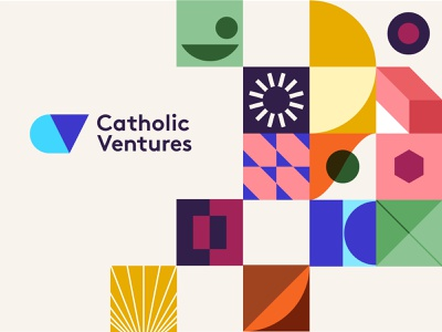 Catholic Ventures | Brand Ideation colors vintage shapes grid layout colorful typography web brand identity branding logo