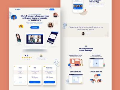 CoSpace Landing Page chat video faces colorful people web identity branding