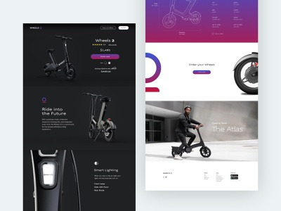 Wheels | eCommerce wheels product landing page store ecommerce buy scooter bike branding logo