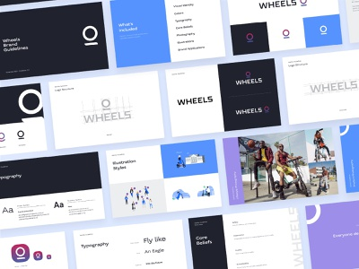 Wheels | Brand Guidelines street bike micromobility scooter wheels styleguide illustration typography identity branding logo