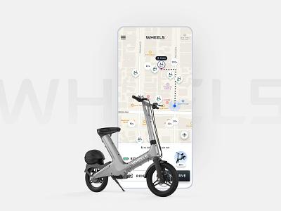 Wheels | App Design mobile ux app helmet scooter bike transportation micromobility map ui identity branding logo