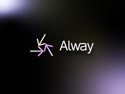 Alway | Brand ligature technology tech software finance simple modern geometric abstract arrows ui brand identity branding logo