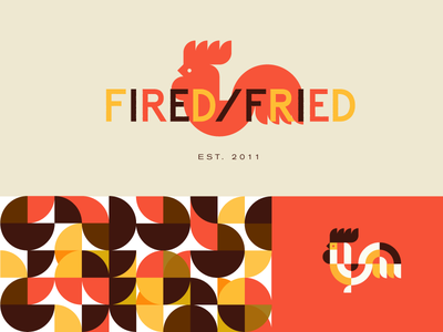 Fired/Fried | Branding pattern colorful identity branding bbq chicken food logo