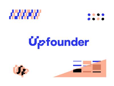 Upfounder | Moving up upward wave patterns identity logo branding