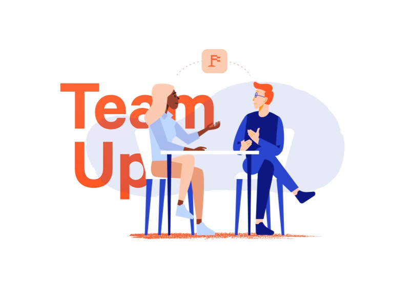 Upfounder | TeamUp upfounder talking web branding logo diversity illustration characters people teams