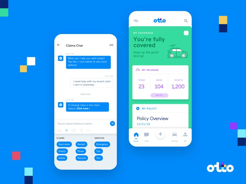 HelloOtto   Chatbot & Driver Behavior colorful logo brand chat chatbot warranty insurance phone mobile app app design uiux ui