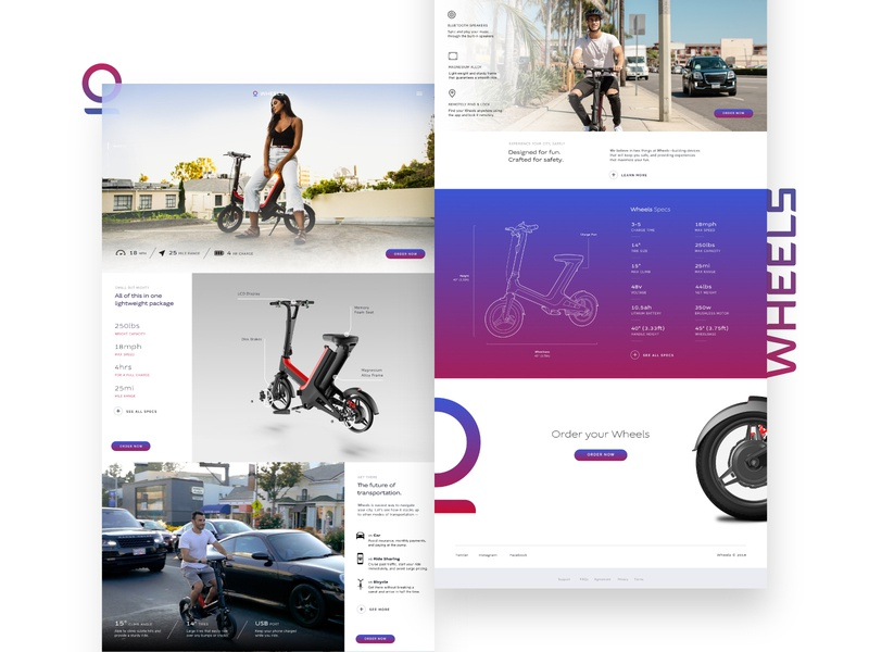 Wheels | Website landing page web design bikes scooters micromobility website web