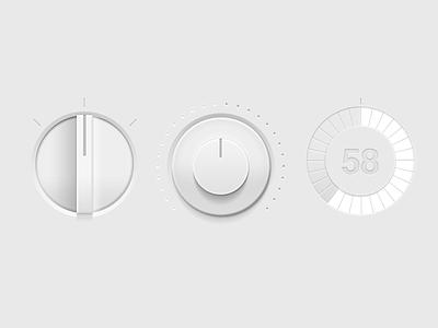 Tint Dials dials knob white milky subtle shading 3d 2d ui ux interface tactile