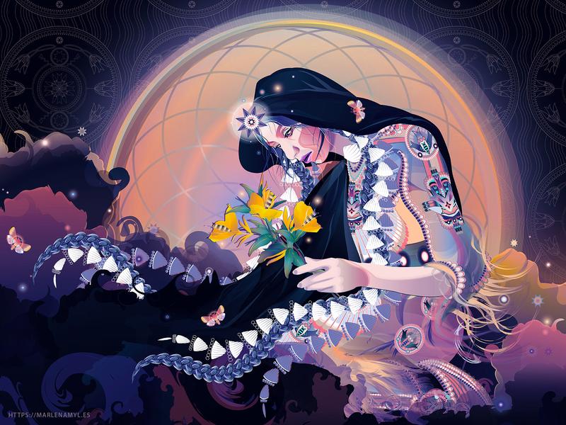 Haŋwí, Dakota Moon Spirit pattern evening plants vector illustration illustrator vector spirituality spirit goddess moon native american