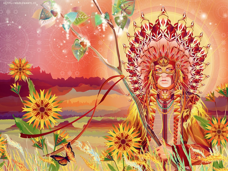 Aŋpétu Wí, Dakota Sun Spirit morning sunrise sun floral pattens flowers headdress vector illustration illustration vector art indigenous native american dakota