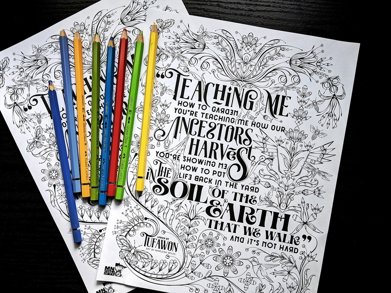 Teaching Me How to Garden lyrics florals floral art coloring page coloring book coloringbook flowers dakota indigenous native american