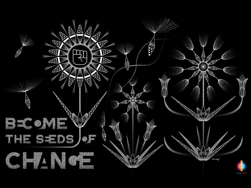 Become the Seeds of Change stipple black  white geometric illustrator flowers illustration plants dakota indigenous native american