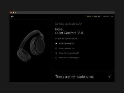 SoundID Listen Desktop app - Headphones ux ui soundwave sound simple player pattern music app music mobile app minimal dark ui darkmode black