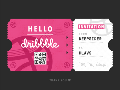 Hello Dribbble! pink qrcode invitation debut ticket