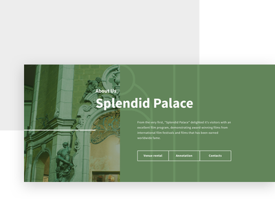 Splendid Palace portfolio website usability font interface baroque green line button outline image cinema