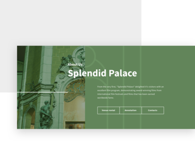 Splendid Palace portfolio website usability font interface baroque green line button outline image cinema