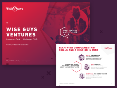 Wise Guys Ventures presentation visual book cooperative identity red startups team slide deck pitch