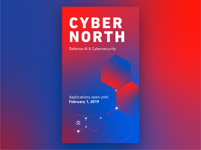 CyberNorth ad text design bold font hexagon poster blue red gradient cyber cyber security