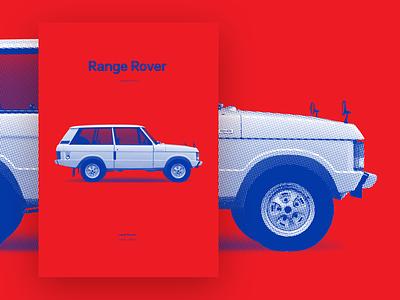 Range Rover - 1st generation [poster] automotive design automotive automobile illustration land rover range rover dot pattern pop art silkscreen silkscreen print poster art poster car
