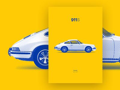 Porsche - 911s poster  |  Buy now silkscreen print silkscreen blue yellow poster art popart illustraion dot pattern car automobile porsche porsche 911 poster