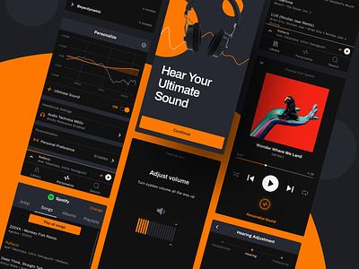 True-Fi  mobile app personalization apple apple music tidal spotify black ui orange music player ui soundwave sound music player darkmode app mobile app