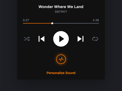 True-Fi mobile app - Player streaming app spotify calibration soundwave sound orange ux ui music player mobile app darkmode black app