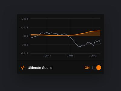 True-Fi mobile app - Headphone calibration tidal apple music spotify soundwave sound orange calibration streaming app music player darkmode mobile app black app