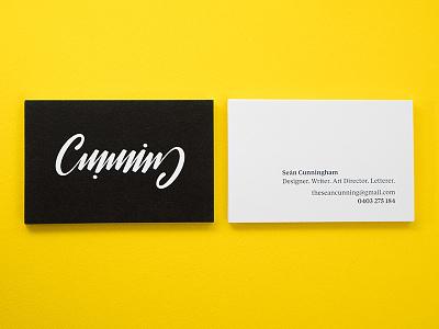 Cunning hand-lettering brushscript ambigram identity design