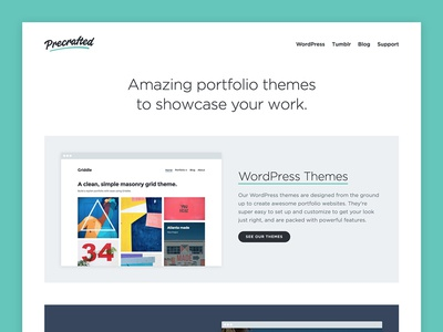 Precrafted Website 2018 home page website blog portfolio themes tumblr wordpress
