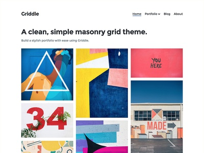 Griddle Home Page photography blog portfolio theme wordpress