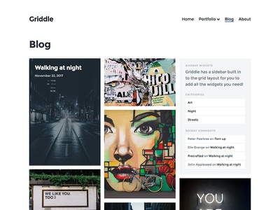 Griddle Blog Page photography blog portfolio theme wordpress