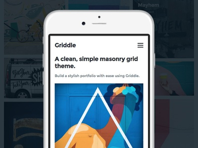 Griddle Mobile View photography blog portfolio theme wordpress