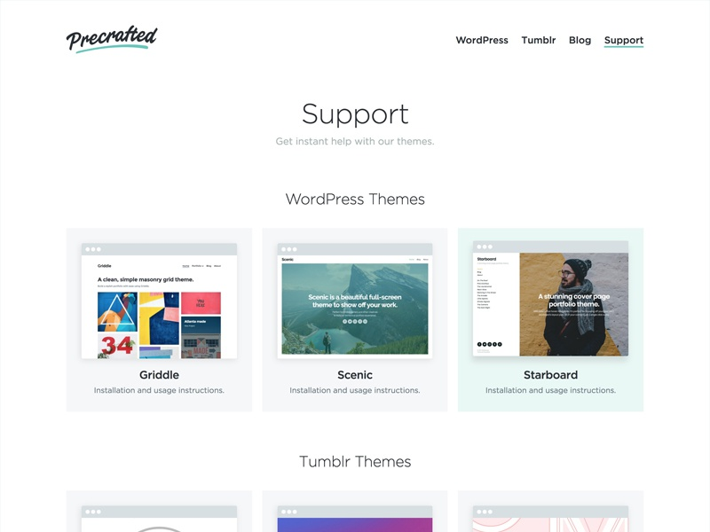 Website Support Page support website blog portfolio themes tumblr wordpress
