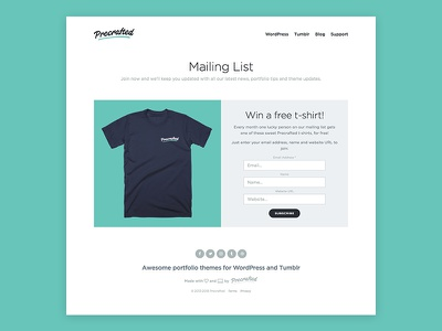 Precrafted Mailing List t-shirt signup mailing list photography blog portfolio theme wordpress