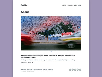 Griddle WordPress Theme – About Page masonry grid photography blog portfolio theme wordpress