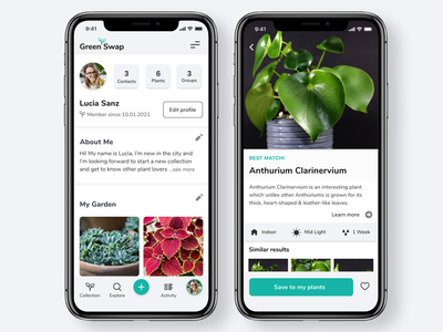 GreenSwap - Swap your plants with others around you product design feature branding instagram plants app app ui design ux design ux ui design