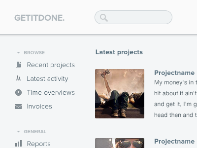 Getitdone. WIP web dashboard wip iteration1 interface ui