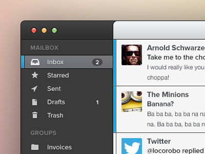 Mail app mail app blurry bg ftw mac os x mail sarah unread sidebar dark email concept app ui gui mac