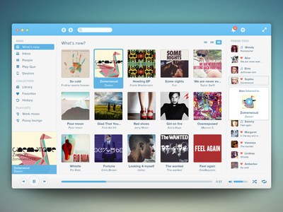 Music Player music player audio albums charts social spotify rdio volume album covers