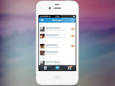 Messages skype messages iphone ui gui retina light blue