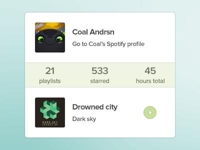 Spotify profile widget spotify widget coal music profile playing playlist psd freebie fun