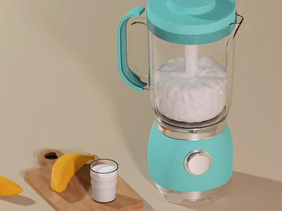 Blender in Blender motion graphics animation ui design joy summer juice banana milk 3drender blender colorful cinema4d illustration 3dart 3dartist 3d