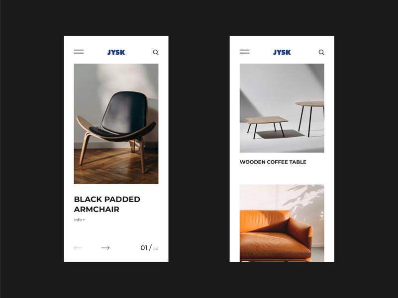 JYSK | Redesign concept online shop online store app design modern web minimalism mobile app mobile ui design minimal ui ux dribbble app concept furniture app