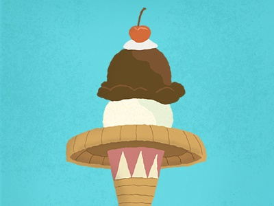 Good Eats - El Helado poster illustration ice cream cone sombrero mexican design el paso texas