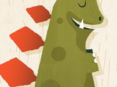 Grooveasaurus Detail wood guitar bass stegosaurus illustration poster gig dinosaur dino